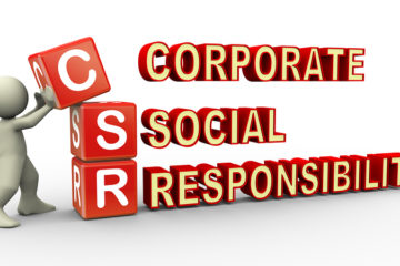 3d render of man placing csr (corporate social responsibility) cubes. 3d illustration of human character.